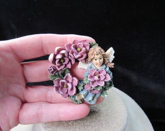 Vintage Religious Large Ceramic Angel Floral Pin