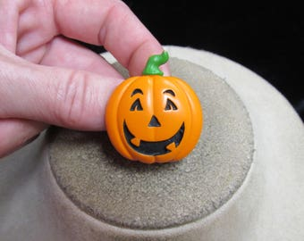 Vintage Halloween Orange Black & Green Pumpkin Pin