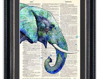 Blue Watercolor Elephant, Dictionary Art Print, Elephant Wall Art, Elephant Poster,Blue Elephant