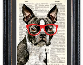 Boston Terrier With Glasses, Dictionary Art Print, Boston Terrier Art Print, Boston Terrier Art, Boston Terrier Poster