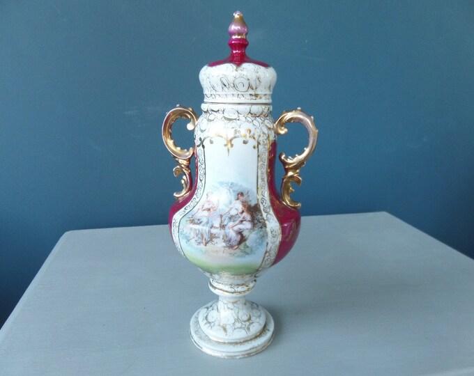 "German Porcelain Urn, Von Schierholz, Plaue Thuringia Antique Lidded Urn (1865 - 1911) 11"" x 5"", Hand Painted, Excellent Condition"