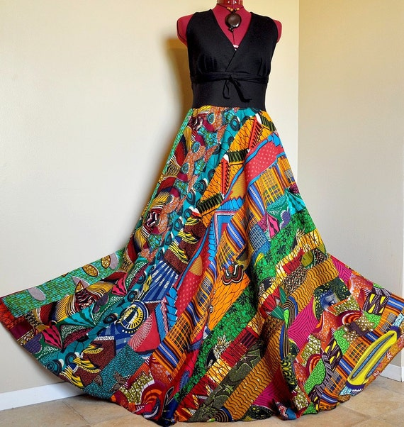 V-neck African patchwork dress