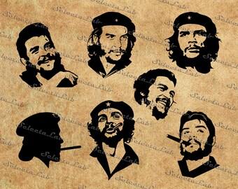 Digital SVG PNG che guevara, el che, Ernesto Che Guevara, argentine revoluctionary, silhouette, vector, instant download