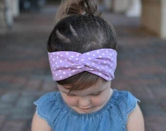 Purple Polka Dot Turban Headband , Baby Turban Headwrap, Girl's Turban,  Adult Turban Headband, Twisted Headband