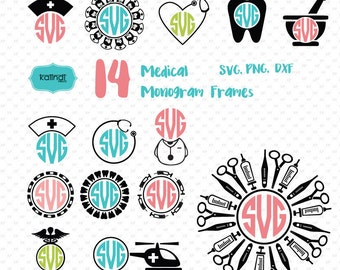 Nurse svg, nurse svg files, medical svg, nurse monogram svg, dentist svg, doctor svg, medical monogram,nurse cut file,    Id#medm1