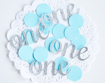 Glitter 1st Birthday Party Confetti, Baby Blue and Silver Confetti, Glitter Confetti, Silver Baby Shower, Baby Boy Gift