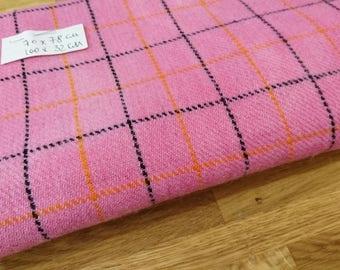 Harris tweed fabric remnant, pink grey and orange checked tweed wool fabric, vintage Harris tweed fabric remnant Scottish tweed in pink