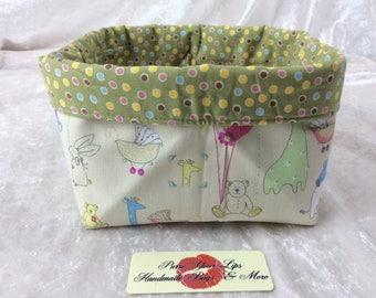 Nursery Fabric basket short reversible organiser bin storage sewing. Handmade in England