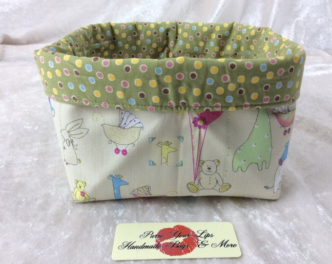 Nursery Fabric basket short reversible organiser bin storage sewing. Handmade in England