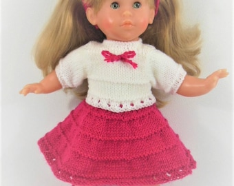 Doll - fuchsia pink and white jacket and skirt set