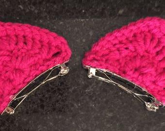 Crocheted cat ear hair clips
