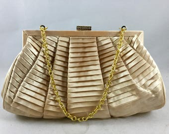 Vintage Gold Satin Evening Clutch - Champagne Pleated Evening Purse - Gold Evening Clutch By Jacqueline Ferrar