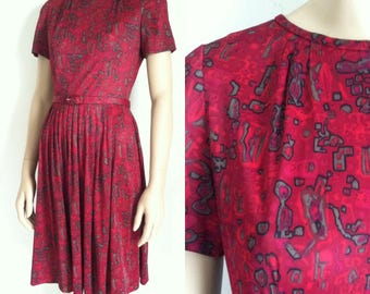 Vintage 1960's Abstract Print Day Dress