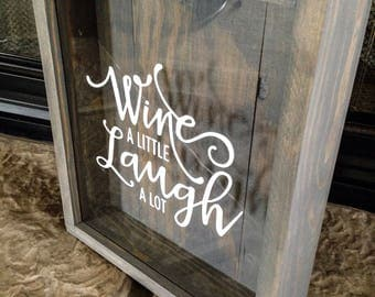 Wine cork holder-wine a little laugh a lot-wedding gift-Wine Lover-newlyweds-Wine Shadow Box-Personalized Wine Cork Box-Mr and Mrs