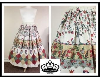 70s Folkloric Dirndl Skirt, Floral Print, Patchwork Print, Folk Skirt, Mid / Maxi Length, Size M
