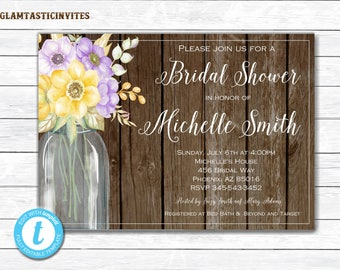 Rustic Bridal Shower Template, Bridal Shower Invitation Template, INSTANT DOWNLOAD, DIY Invitation, Floral Invitation, Bridal Shower Invite