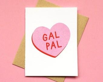 Gal Pal Card, Friendship & Love Pink Candy Conversation Heart