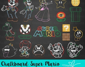 Chalkboard Super Mario Clipart / Digital Clip Art for Commercial and Personal Use / INSTANT DOWNLOAD