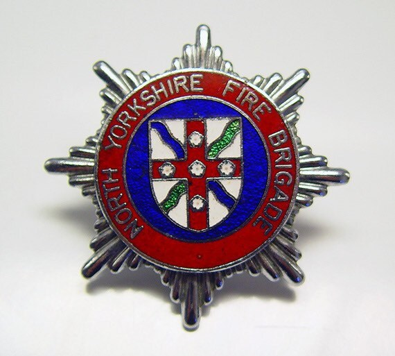Vintage North Yorkshire Fire Brigade Enameled Cap Badge