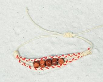 Boho Jewelry/ Wood Bead/ Jewelry/ Red/Natural Hemp Bracelet/ Hemp Jewelry/ Men Jewelry/ Women Jewelry