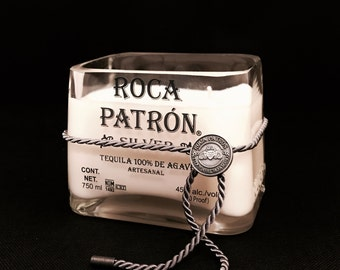 Recycled Roca Patron Silver Tequila Bottle Candle