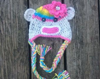 Girl's sock monkey hat, crochet monkey hat