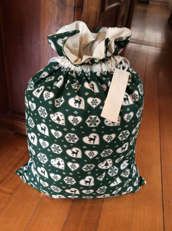 Green Hearts and Calico Quality Christmas Santa Sack, Hand Made, Large 54cm x 74cm, Fully Lined