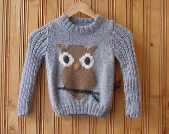 Gray Hand knit animal owl kids Boys Girls sweater for boy girl 2 3 years Kids fashion kids hand knit clothes clothing childrens sweater