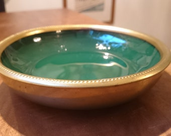 Vintage W & S Blackinton Brass and Hunter Green Glass Bowl/ Quality Silver plate/ Hollywood Regency Glamour