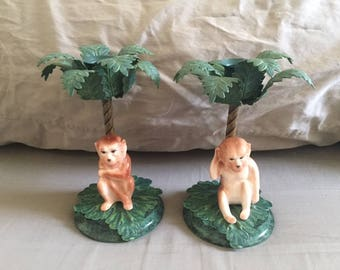 Vintage Pair of Petite Choses Porcelain Monkey Metal Palm Tree Candle Holders