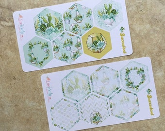 SUCCULENT Mission Board Hexagons:  Planner Stickers   Bound - A5 - Quarterly   inkWELL Press Planners   LucKaty  