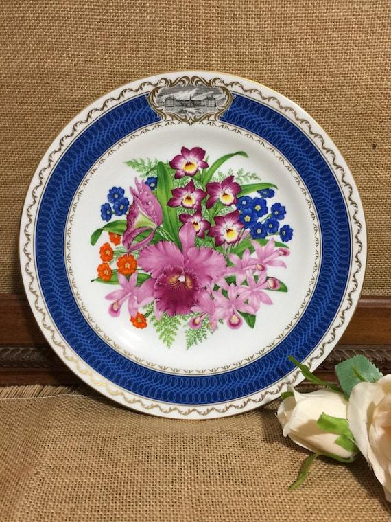 "RHS 1985 Chelsea Flower Show Fine Bone China Plate by SPODE - Chelsea Splendour - 9"" Decorative Plate - Vintage English Cabinet Plate"