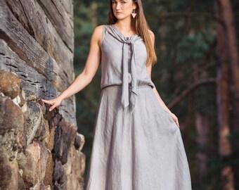 SALE Gray linen dress maxi dress long linen dress linen evening dress long summer dress concert dress ready to ship