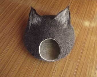 Cat Cave, Cat Bed, Cat House, Felted Cat Cave, Wool Cat Bed, Wool, Felted, Eco-friendly, Cat Furniture