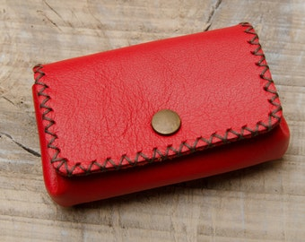 Red Leather Wallet, Leather Coin Purse, Coin Wallet, Leather Coin Pouch