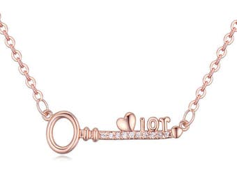 Love Key Necklace Made with Swiss Crystals FREE SHIPPING!