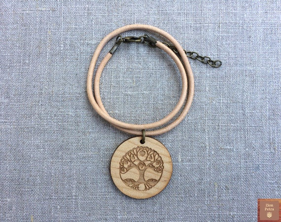 Ancient Tree of Life Carved Choker Pendant—Recycled Maple Wood & Chemical-Free Cashew-Beige Leather