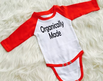 Funny Baseball Baby Bodysuit - Red and White Raglan Bodysuit - Baby Shower Gift - Baby Going Home Outfit - Matching Sibling Clothing -