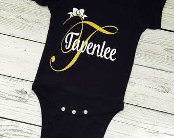 Personalized Monogram Bodysuit - Custom Made Name Bodysuit - Party Outfit -  Personalized Baby Shower Gift - Baby's Going Home Outfit