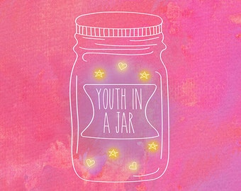 Youth in a Jar, Indie, Alternative, Quirky, Illustrative Sketch Print, Vibrant Pink Watercolours INSTANT DOWNLOAD