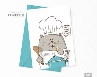 Cat greeting cards, Chef cat card, Meow, greeting card printable, Instant download