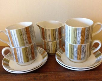 Jessie Tait, Mid Century Vintage, Midwinter Sienna Cups, Saucers, Creamer, Sugar, 1960s, England, Mustard, Olive Green and Black.