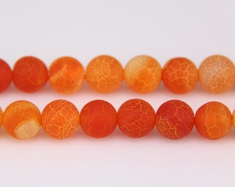 "4-14mm Matte Shinning Orange Agate Beads Genuine Natural Stones Agate Loose Beads 15.5"" Full Strand Beads Wholesale"