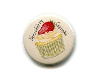 Strawberry Cupcake Magnet Cake Magnet, 38mm Round Button Baking Cooks Fridge Magnet