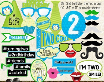 Photo Booth Props, HAPPY 2ND BIRTHDAY, boy, printable sheets, instant download, diy, party planning, blue, green, cyan, lime