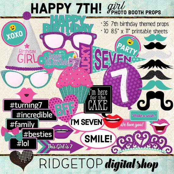 Photo Booth Props HAPPY 7TH BIRTHDAY Girl Printable Sheets