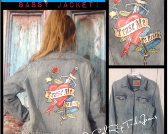 """Levi, ladies small Jean jacket with """"Tease Me to Death"""" decal on back! One of a kind and will sell fast!"""