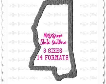 MISSISSIPPI STATE Embroidery, 14 Formats, 8 Sizes, MS Applique, Instant Download, Embroidery Pattern, Embroidery File, State Applique