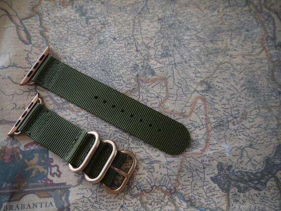 Apple watch original, series 1, series 2 band: Nato/zulu strap 2-pieceApple watch band (army green), Free Shipping Worldwide! Rose Gold