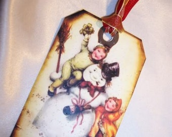 FOUR Vintage Christmas Hang Tags Retro Snowman Gift Tags